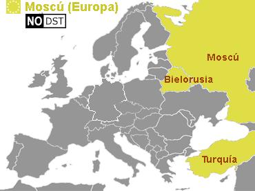 Mapa horario y Zonas horarias Europa