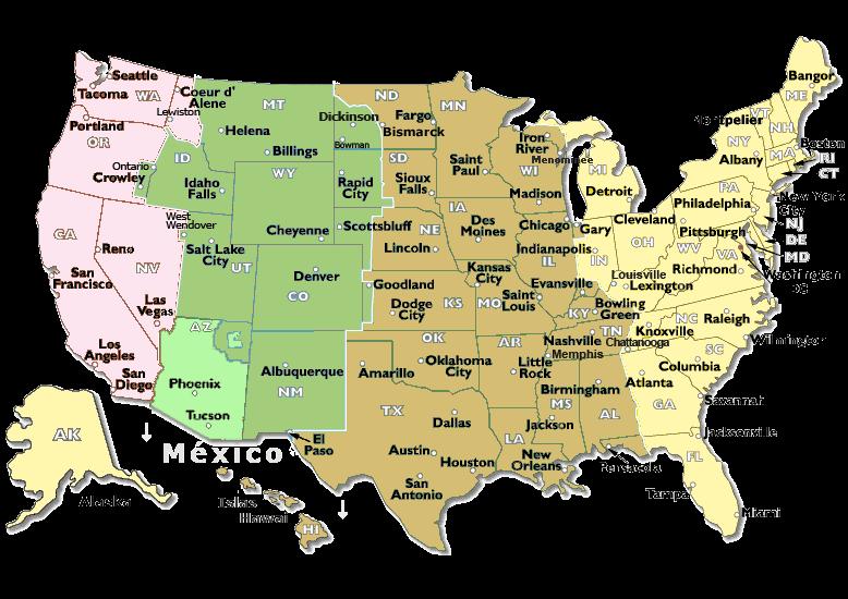 Cambio De Hora USA Estados Unidos Mapa Horario Verano - Mapa de usa
